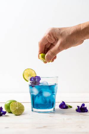 butterfly pea juice with lime - Healthy drink