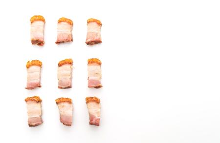 crispy pork belly or deep fried pork isolated on white background