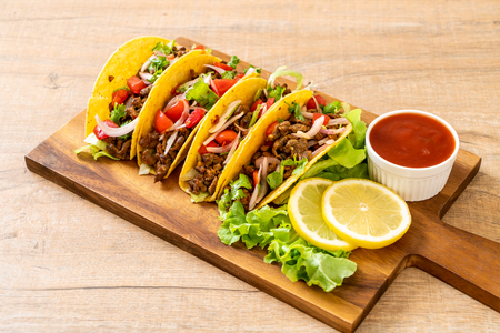 tacos with meat and vegetables  -  Mexican food style Stock Photo