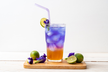 butterfly pea juice with honey and lime - Healthy drink