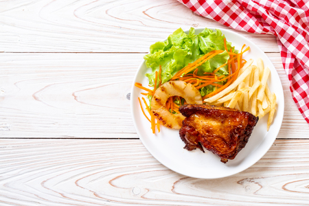 grilled chicken steak with vegetable and french fries Reklamní fotografie