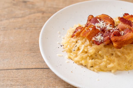risotto with crispy bacon and cheese