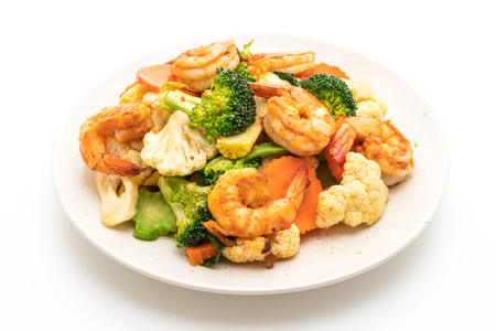 stir-fried mixed vegetable with shrimps isolated on white background