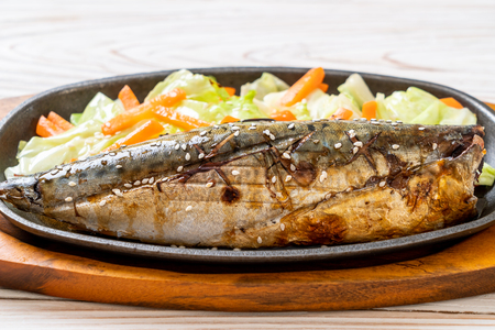 Grilled Saba fish steak with teriyaki sauce - Japanese food style