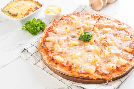 hawaiian pizza on table - Italian food style