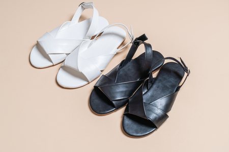 fashion female and woman leather sandals with slingback