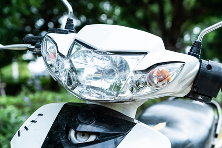 Close-up motorcycle headlight or head lamp