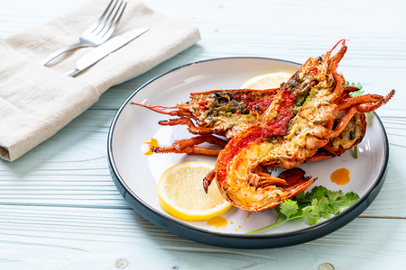 grilled lobster steak with lemon