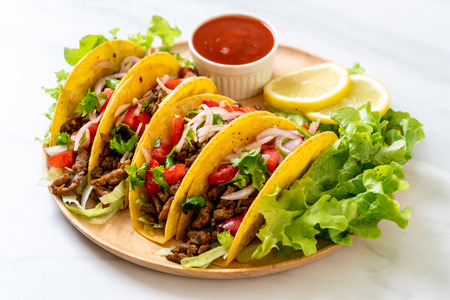 tacos with meat and vegetables  -  Mexican food style Foto de archivo