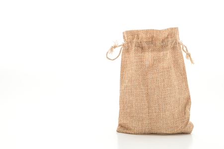 sack fabric bag isolated on white background