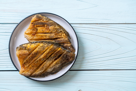 Crispy Gouramy Fish on white plate