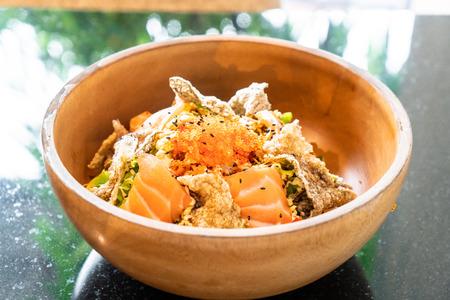 fresh salmon raw salad with fried salmon skin - Japanese style