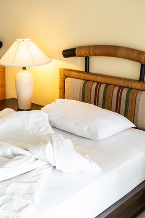Rumple pillow on bed decoration in bedroom interior
