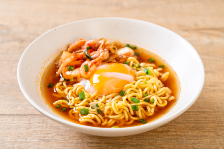 Korean instant noodles with kimchi and egg - Korean ramen style