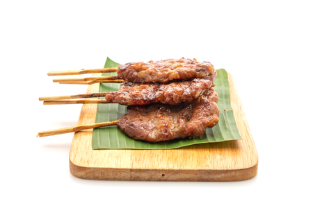 grilled skewered milk pork with white sticky rice isolated on white background 스톡 콘텐츠