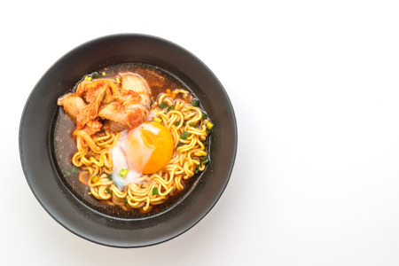 Korean instant noodles with kimchi and egg isolated on white background 스톡 콘텐츠