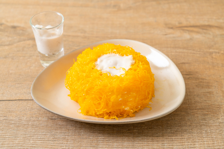 Sweet Egg-Serpentine Cake or Gold Egg Yolk Thread Cakes - Thai dessert