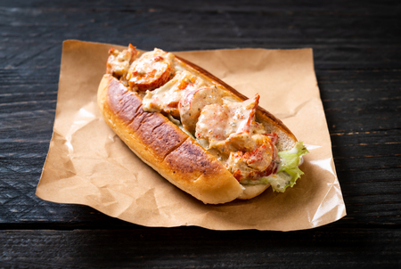 homemade lobster roll with potato chips