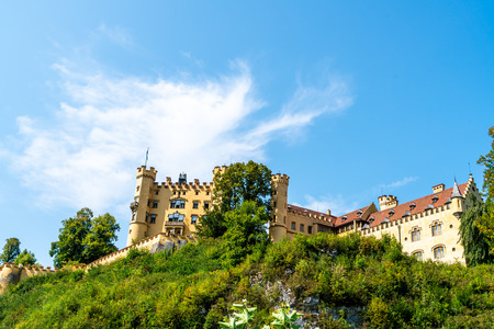 Beautiful Architecture at Hohenschwangau Castle in the Bavarian Alps of Germany with blue sky Standard-Bild