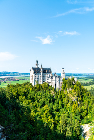 Beautiful Architecture at Neuschwanstein Castle in the Bavarian Alps of Germany with blue sky Standard-Bild