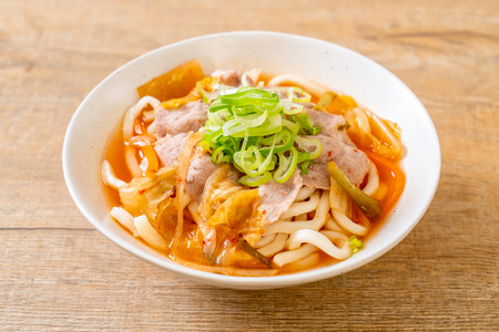 udon ramen noodle with pork and kimchi - korean and japanese food style
