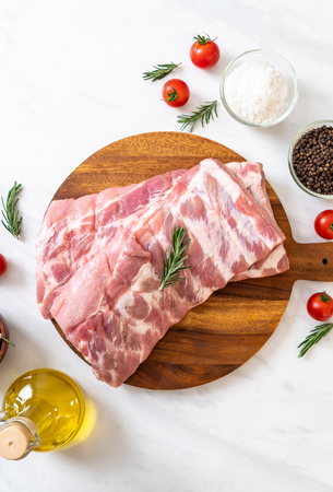 Fresh raw pork ribs with ingredients