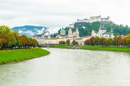 Salzburg City with Festung Hohensalzburg and Salzach river in Austria
