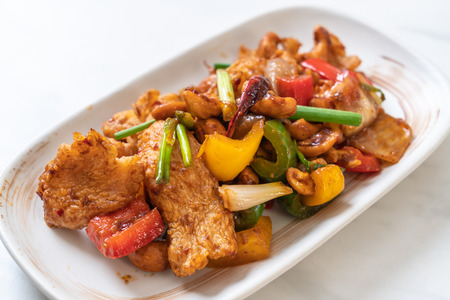 Stir-Fried Chicken with Cashew Nuts - Asian Food Stock fotó
