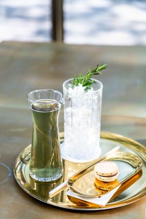iced green tea with macaroon Stock Photo