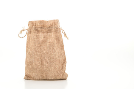 sack fabric bag isolated on white background
