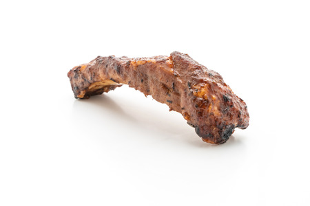 grilled barbecue ribs pork isolated on white background