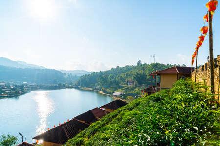 Ban Rak Thai Village near mountain and the lake .A Chinese settlement in Mae Hong Son, Thailand.