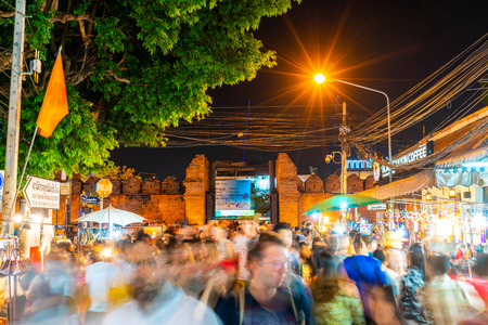 Chiang Mai Thailand - FEB 17 , 2019 : Tha-Pae Gate multi courtyard of the city often has night markets. There are souvenirs for sale, food and beverage store sales to tourists.