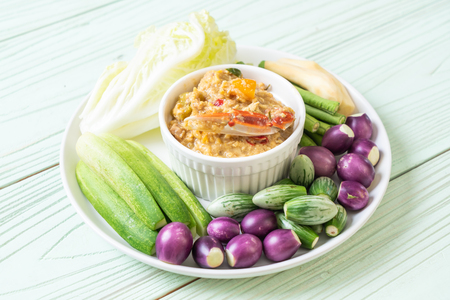 Chili paste simmer with crab or crab and soya dip with coconut milk and vegetables - Asian Healthy Food Style