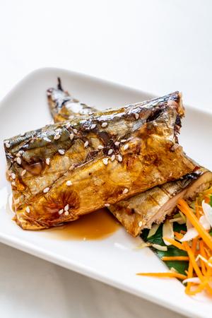 Grilled Saba fish steak with teriyaki sauce - Japanese food style 版權商用圖片