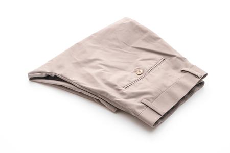 men's beige short pants isolated on white background Stock Photo
