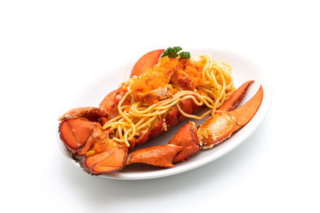 lobster spaghetti with shrimp eggs isolated on white background Archivio Fotografico - 119886305