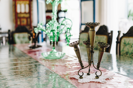 old and antique vase decoration on dinning table