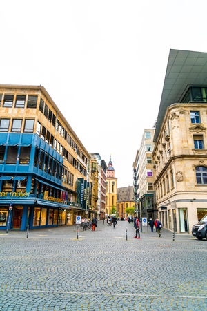 FRANKFURT, GERMANY - SEP 3, 2018: people walk along the shopping street of Frankfurt on the Main, Germany.