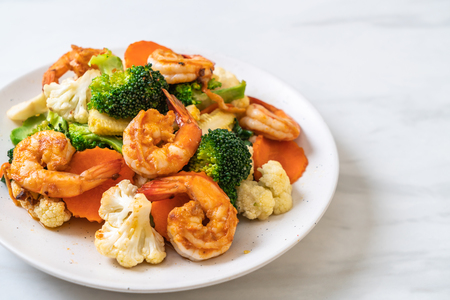 stir-fried mixed vegetable with shrimps - healthy food style Stock fotó