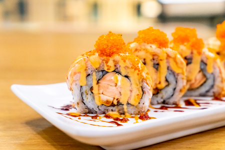 Salmon Roll Sushi with Cheese - Japanese food style 스톡 콘텐츠