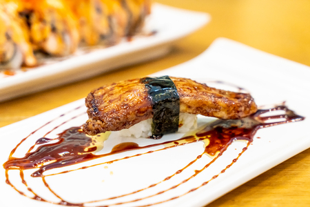 Foie Gras Sushi with Sauce - Japanese food style