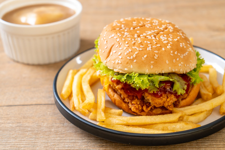 fried chicken burger - unhealthy food style