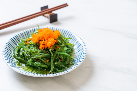 seaweed salad with shrimp eggs -Japanese  food style Stock Photo