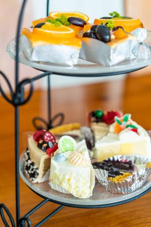 cake on buffet line in hotel restaurant Stock Photo