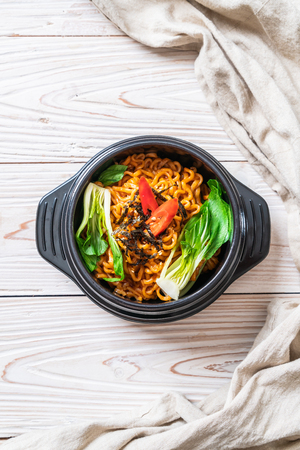 korean instant noodles with vegetable and kimchi - Korean food style