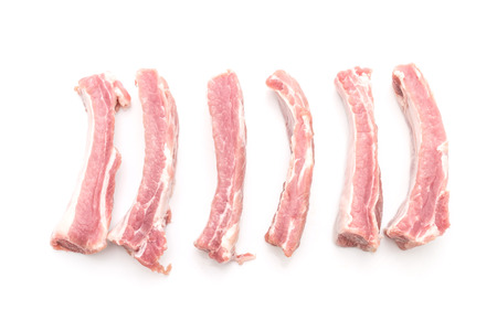 Fresh raw pork ribs isolated on white background