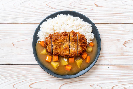 Crispy fried pork cutlet with curry and rice - Japanese food style 스톡 콘텐츠 - 121899229
