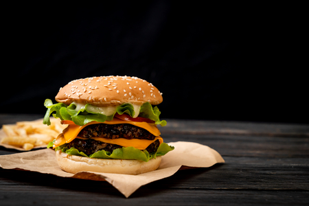 homemade and fresh tasty burger with cheese Banco de Imagens