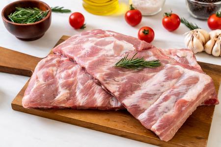 Fresh raw pork ribs with ingredients